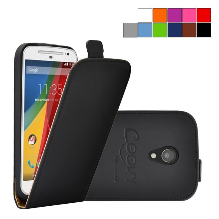 COOVY® Cover für Motorola Moto G XT1072 (2. Generation Model 2014) Slim Flip Case Tasche Etui inklusive gratis Displayschutzfolie