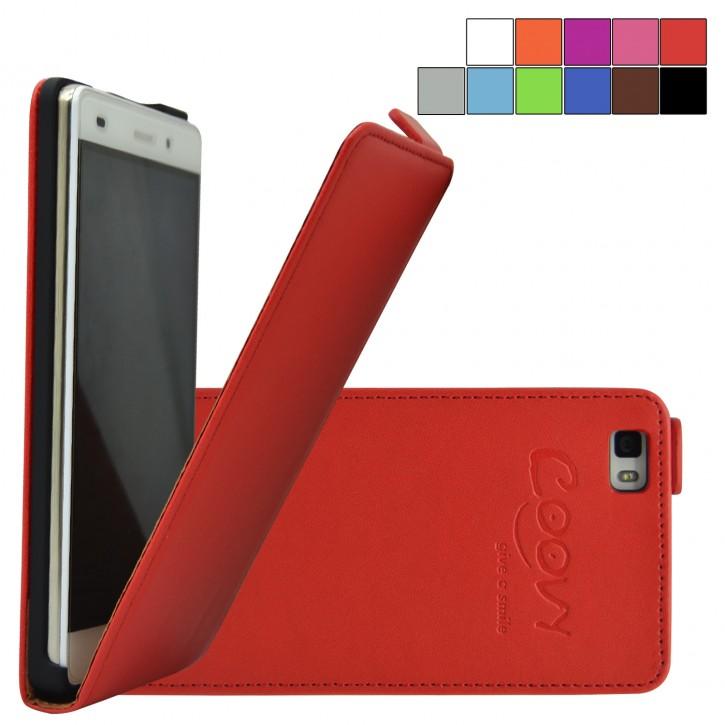 COOVY® Cover für Huawei P8 lite (Model 2016) Slim Flip Case Tasche Etui inklusive gratis Displayschutzfolie | Farbe rot