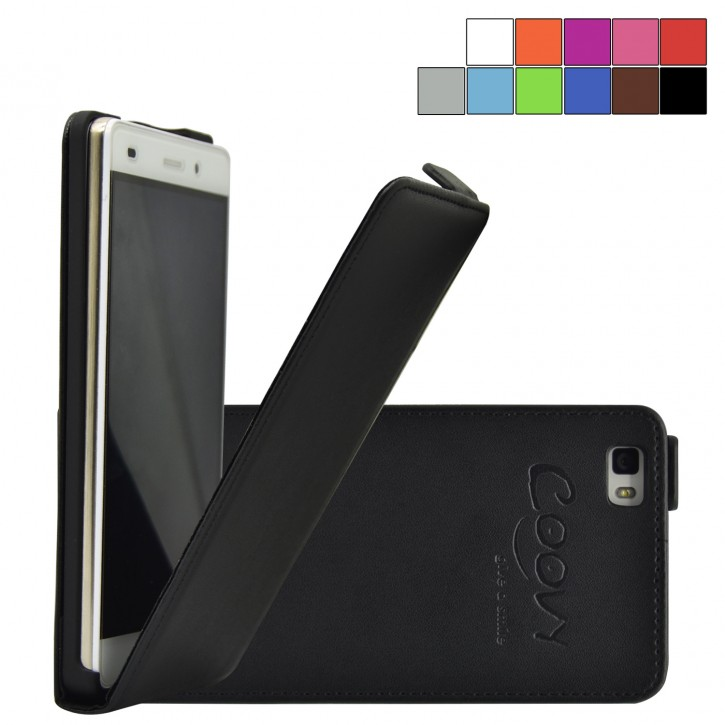 COOVY® Cover für Huawei P8 lite (Model 2016) Slim Flip Case Tasche Etui inklusive gratis Displayschutzfolie