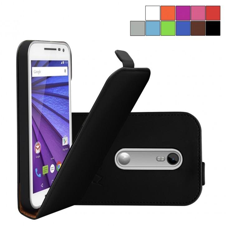 COOVY® Cover für Motorola Moto G (3. Generation Model 2015) Slim Flip Case Tasche Etui inklusive gratis Displayschutzfolie