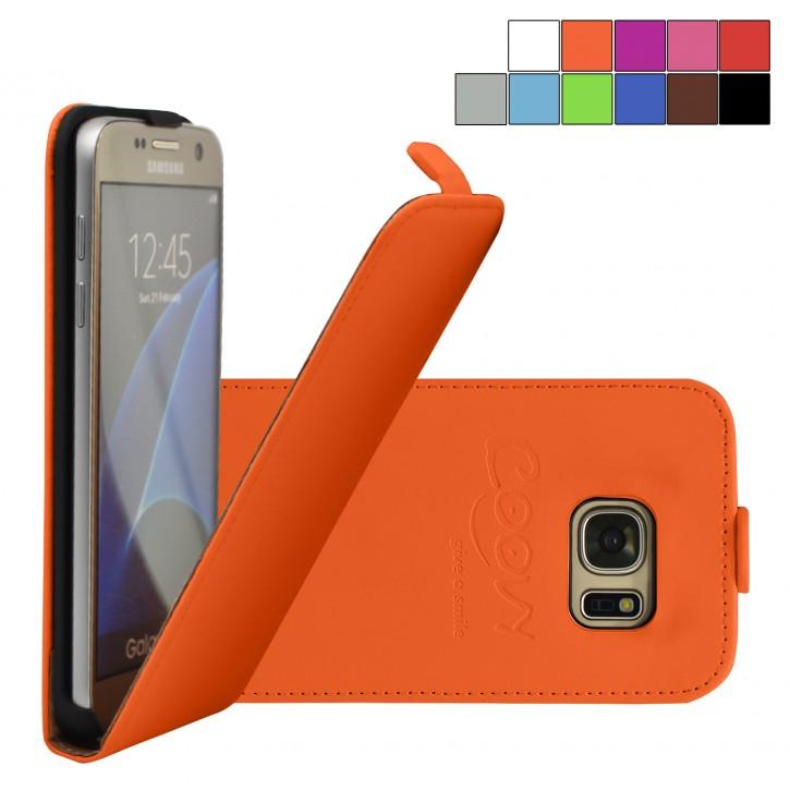 COOVY® Cover für Samsung Galaxy S7 SM-G930F SM-G930 Slim Flip Case Tasche Etui inklusive gratis Displayschutzfolie | Farbe orange
