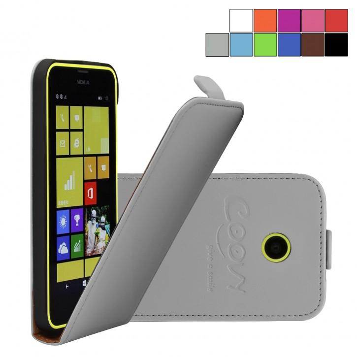 COOVY® Cover für Nokia Lumia 630 / 635 Slim Flip Case Tasche Etui inklusive gratis Displayschutzfolie | Farbe grau