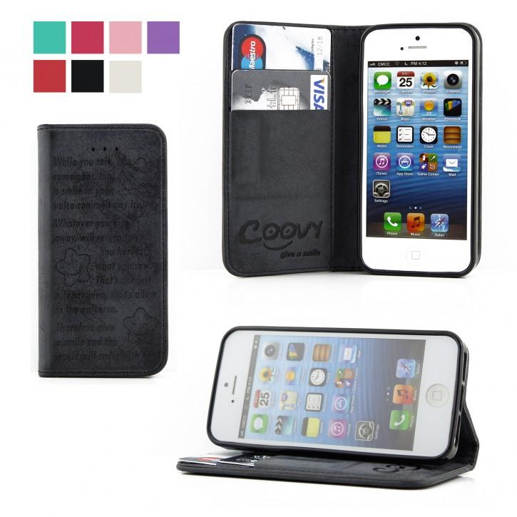 COOVY® Cover für Apple iPhone 5 / 5s / SE Case Wallet Schutz Etui mit Kartenfach, Standfunktion + Schutzfolie - Design Smile