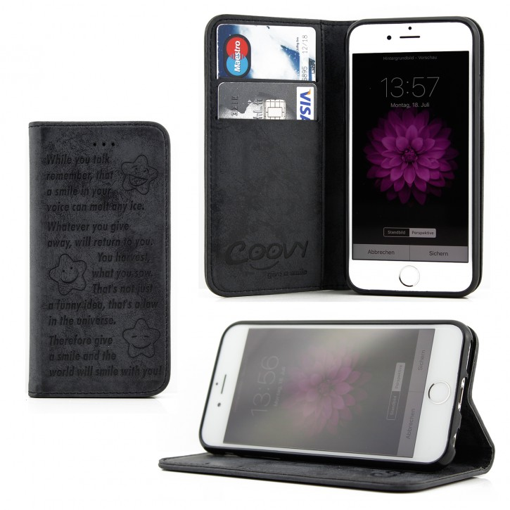 COOVY® Cover für Apple iPhone 6 / 6s Case Wallet Schutz Etui mit Kartenfach, Standfunktion + Schutzfolie - Design Smile