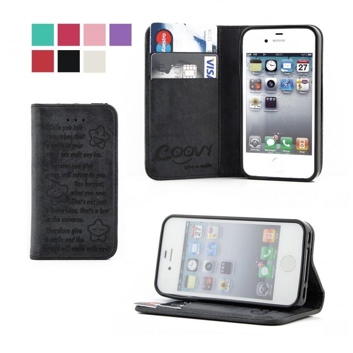 COOVY® Cover für Apple iPhone 4 / 4s Case Wallet Schutz Etui mit Kartenfach, Standfunktion + Schutzfolie - Design Smile