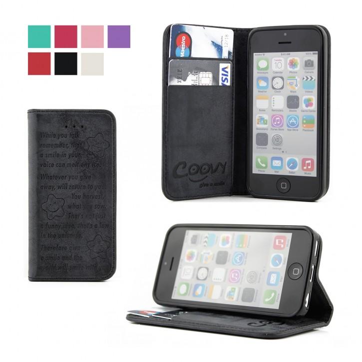 COOVY® Cover für Apple iPhone 5c Case Wallet Schutz Etui mit Kartenfach, Standfunktion + Schutzfolie - Design Smile