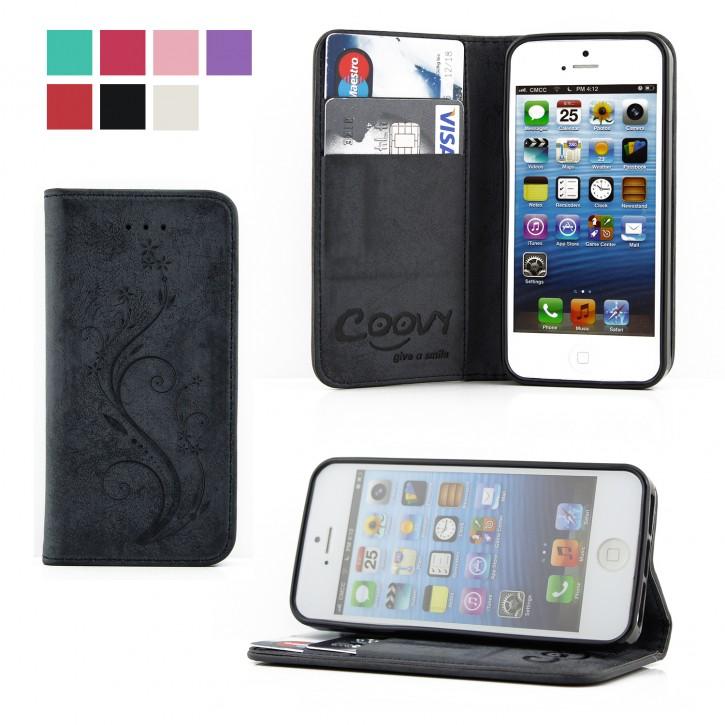 COOVY® Cover für Apple iPhone 5 / 5s / SE Case Wallet Schutz Etui mit Kartenfach, Standfunktion + Schutzfolie - Design Blume