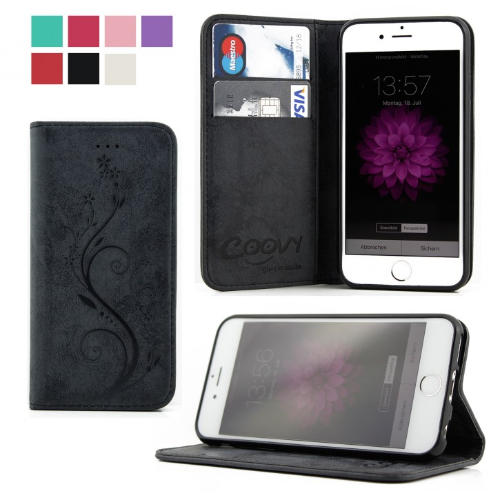 COOVY® Cover für Apple iPhone 6 / 6s Case Wallet Schutz Etui mit Kartenfach, Standfunktion + Schutzfolie - Design Blume