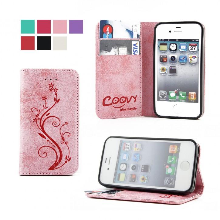 COOVY® Cover für Apple iPhone 4 / 4s Case Wallet Schutz Etui mit Kartenfach, Standfunktion + Schutzfolie - Design Blume | Farbe lightpink