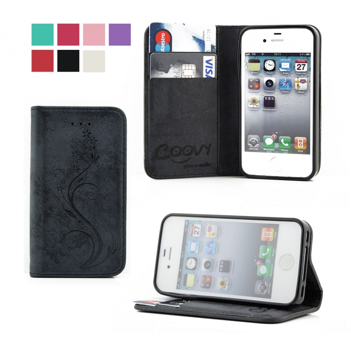 COOVY® Cover für Apple iPhone 4 / 4s Case Hülle Wallet Schutz Etui mit Kartenfach, Standfunktion + Schutzfolie - Design Blume |
