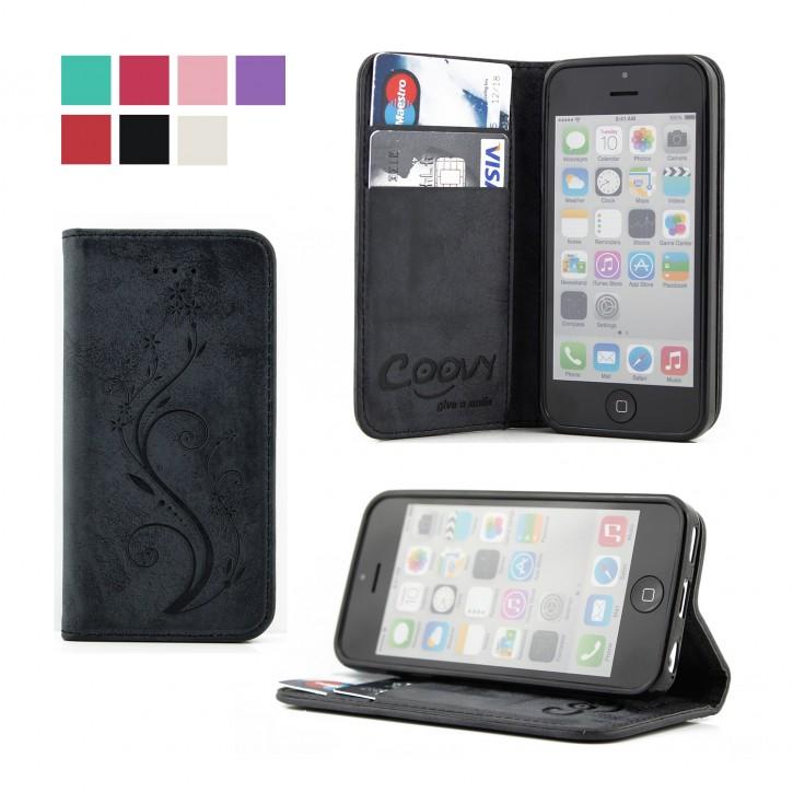 COOVY® Cover für Apple iPhone 5c Case Hülle Wallet Schutz Etui mit Kartenfach, Standfunktion + Schutzfolie - Design Blume |