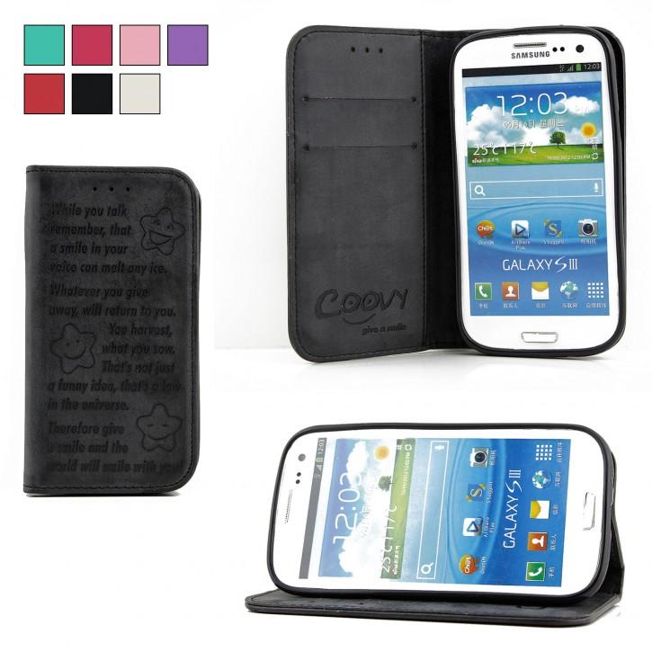 COOVY® Cover für Samsung Galaxy S3 GT-i9300 GT-i9305 Neo GT-i9301 Case Wallet Schutz Etui mit Kartenfach, Standfunktion + Schutzfolie - Design Smile