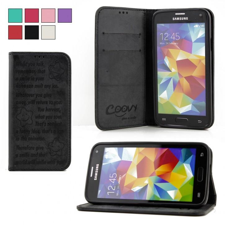 COOVY® Cover für Samsung Galaxy S5 SM-G900F SM-G901F Neo SM-G903F Case Wallet Schutz Etui mit Kartenfach, Standfunktion + Schutzfolie - Design Smile