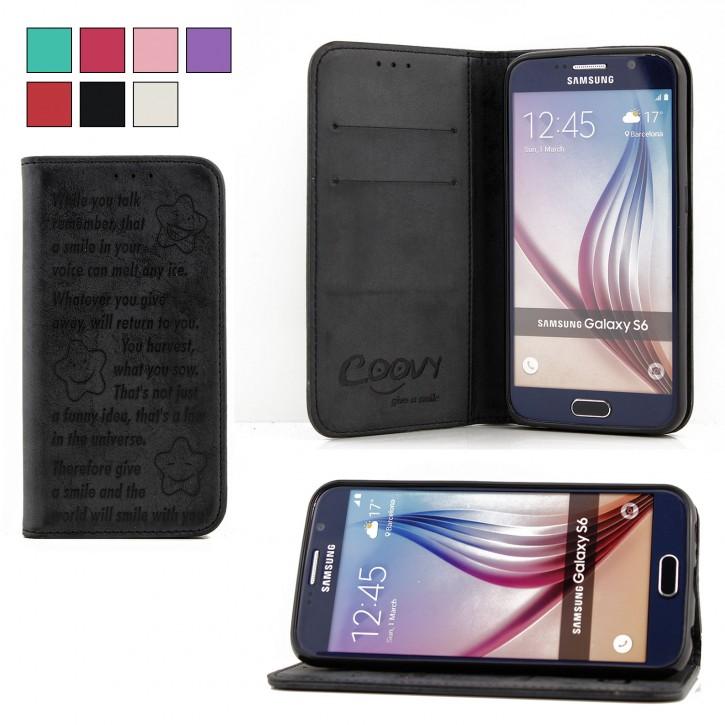 COOVY® Cover für Samsung Galaxy S6 SM-G920F SM-G920 Case Hülle Wallet Schutz Etui mit Kartenfach, Standfunktion + Schutzfolie - Design Smile |