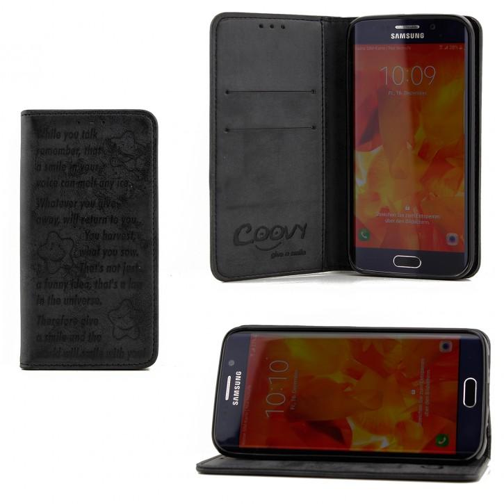COOVY® Cover für Samsung Galaxy S6 EDGE SM-G925F SM-G925 Case Hülle Wallet Schutz Etui mit Kartenfach, Standfunktion + Schutzfolie - Design Smile |