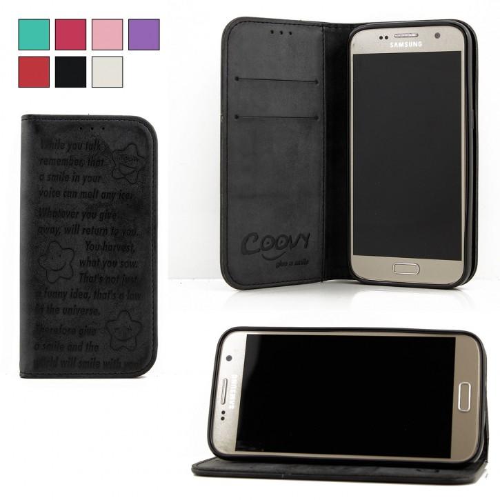 COOVY® Cover für Samsung Galaxy S7 SM-G930F SM-G930 Case Hülle Wallet Schutz Etui mit Kartenfach, Standfunktion + Schutzfolie - Design Smile |