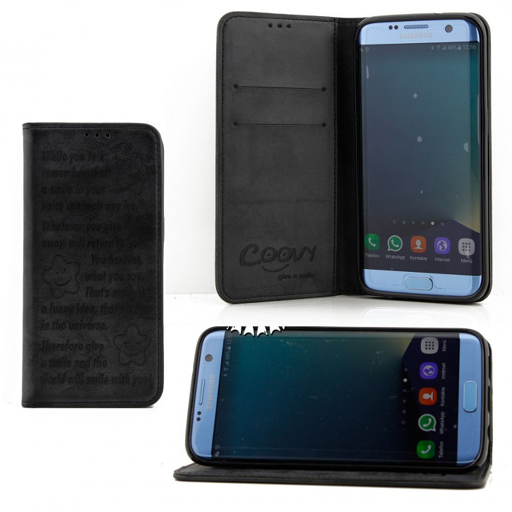 COOVY® Cover für Samsung Galaxy S7 EDGE SM-G935F SM-G935 Case Hülle Wallet Schutz Etui mit Kartenfach, Standfunktion + Schutzfolie - Design Smile  