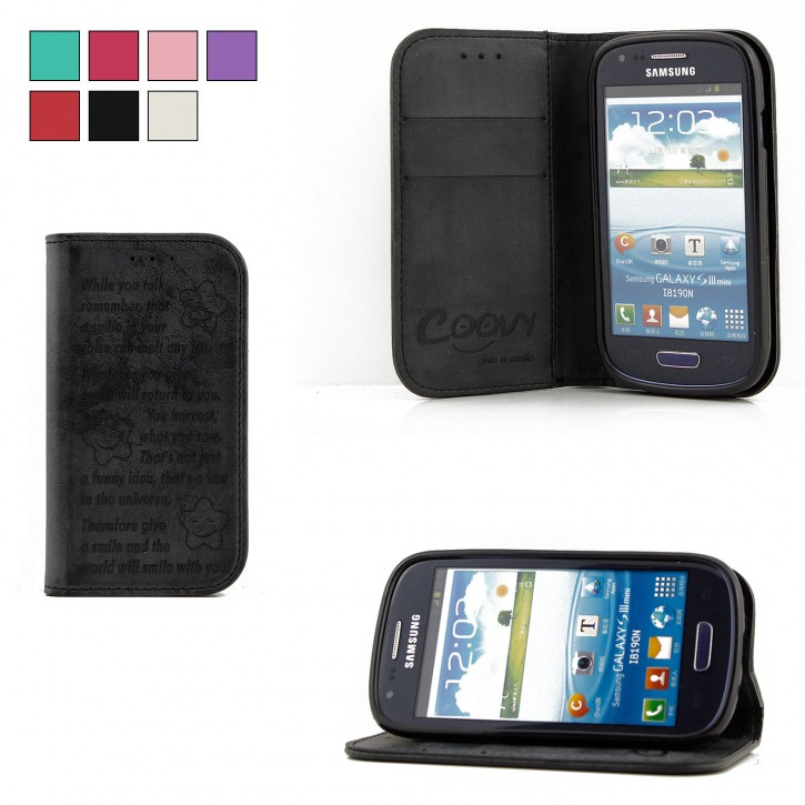 COOVY® Cover für Samsung Galaxy S3 MINI GT-i8200 GT-i8190 GT-i8195 Case Wallet Schutz Etui mit Kartenfach, Standfunktion + Schutzfolie - Design Smile