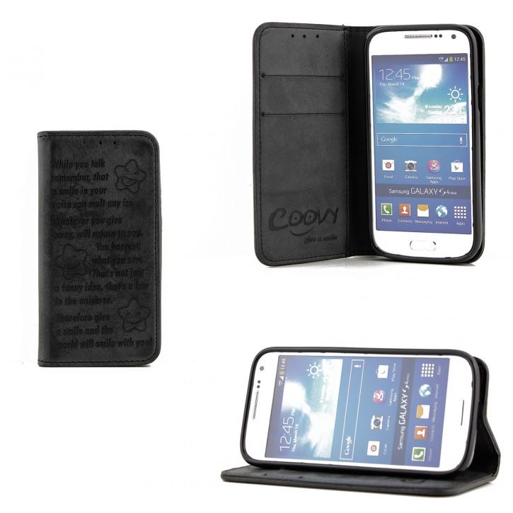 COOVY® Cover für Samsung Galaxy S4 MINI GT-i9190 GT-i9195 GT-i9192 Case Wallet Schutz Etui mit Kartenfach, Standfunktion + Schutzfolie - Design Smile