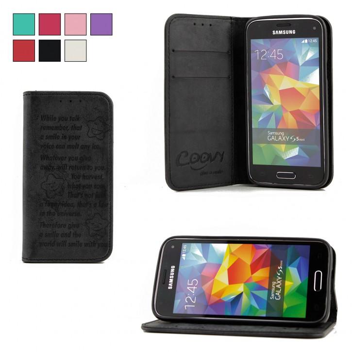 COOVY® Cover für Samsung Galaxy S5 MINI SM-G800 SM-G800H/DS DUOS Case Wallet Schutz Etui mit Kartenfach, Standfunktion + Schutzfolie - Design Smile