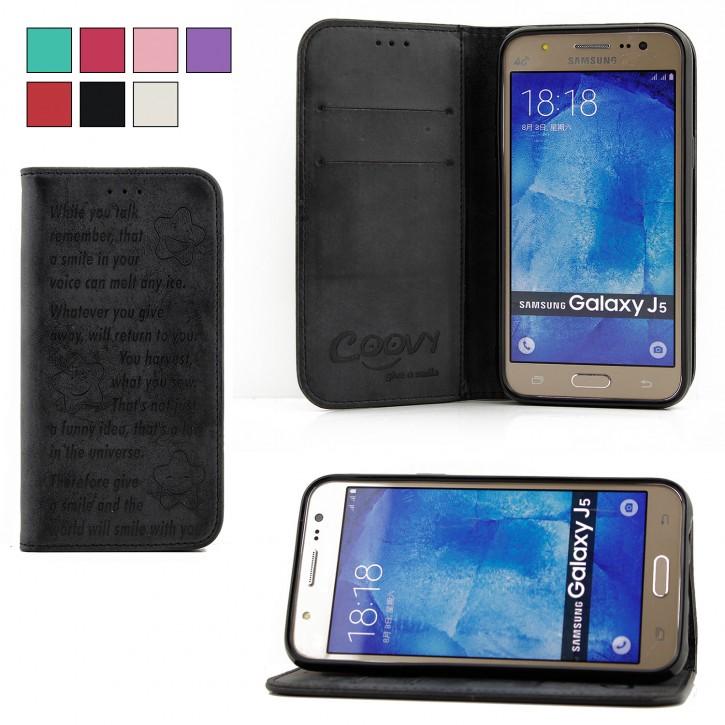 COOVY® Cover für Samsung Galaxy J5 SM-J500 SM-J500F (Model 2015) Case Hülle Wallet Schutz Etui mit Kartenfach, Standfunktion + Schutzfolie - Design Smile  