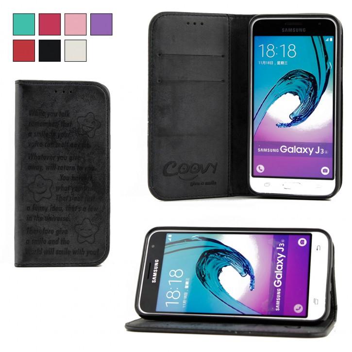 COOVY® Cover für Samsung Galaxy J3 SM-J310 SM-J320 (Model 2015 / 2016) Case Wallet Schutz Etui mit Kartenfach, Standfunktion + Schutzfolie - Design Smile