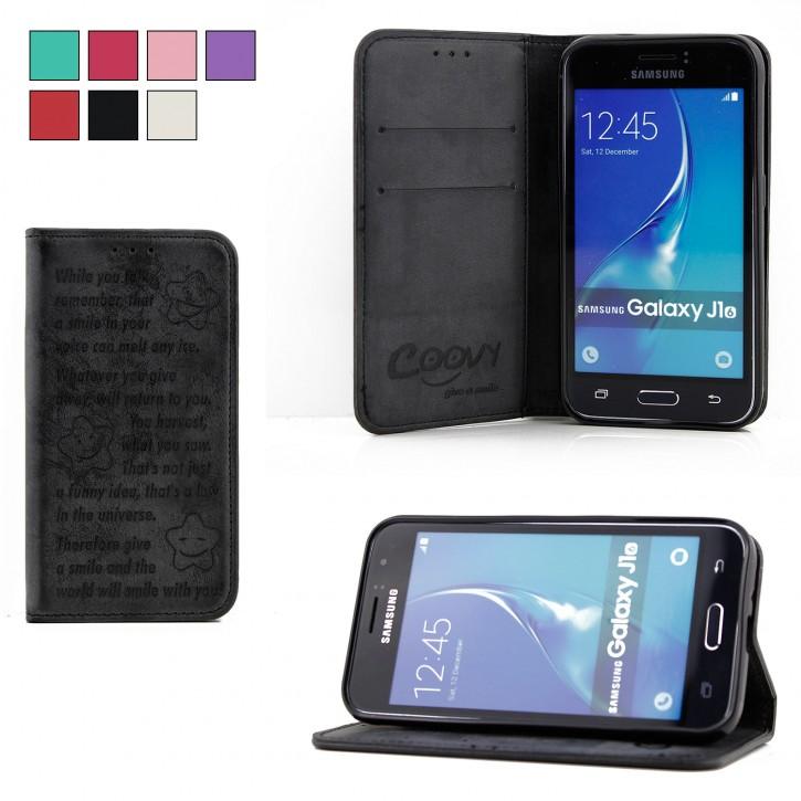 COOVY® Cover für Samsung Galaxy J1 SM-J120 / SM-J120F / SM-J120F/DS (Model 2016) Case Wallet Schutz Etui mit Kartenfach, Standfunktion + Schutzfolie - Design Smile