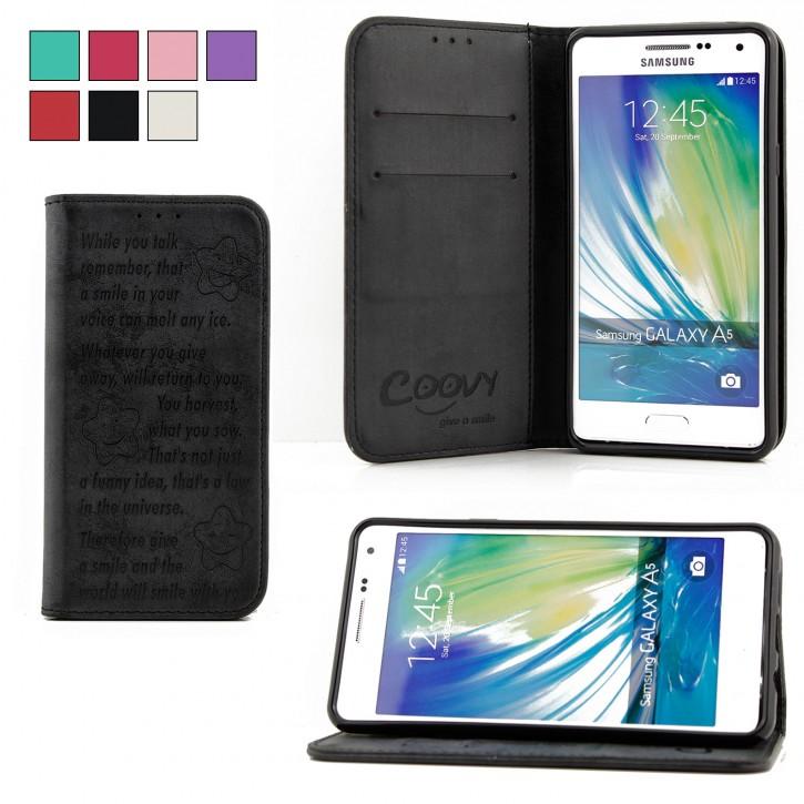 COOVY® Cover für Samsung Galaxy A5 SM-A510 / SM-A510F (Model 2016) Case Hülle Wallet Schutz Etui mit Kartenfach, Standfunktion + Schutzfolie - Design Smile |