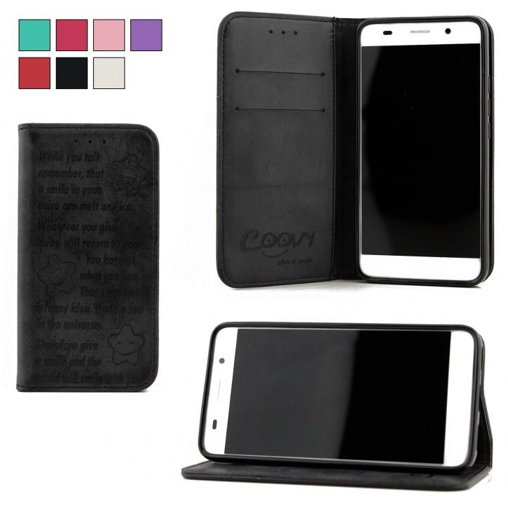COOVY® Cover für Huawei Y6 (Model 2015) Case Wallet Schutz Etui mit Kartenfach, Standfunktion + Schutzfolie - Design Smile
