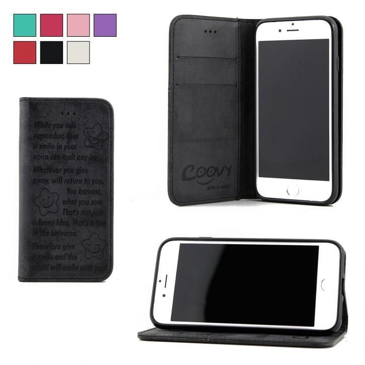 COOVY® Cover für Apple iPhone 7 / 8 Case Hülle Wallet Schutz Etui mit Kartenfach, Standfunktion + Schutzfolie - Design Smile |