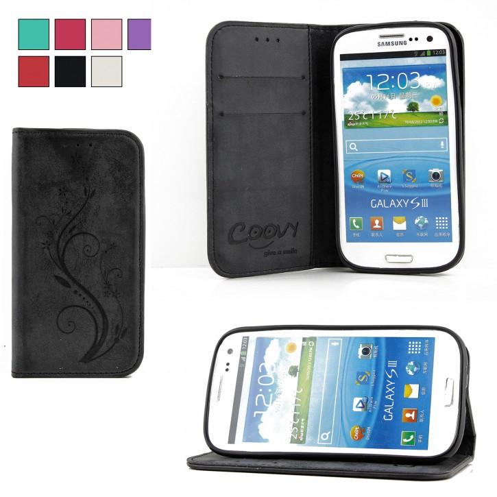 COOVY® Cover für Samsung Galaxy S3 GT-i9300 GT-i9305 Neo GT-i9301 Case Wallet Schutz Etui mit Kartenfach, Standfunktion + Schutzfolie - Design Blume