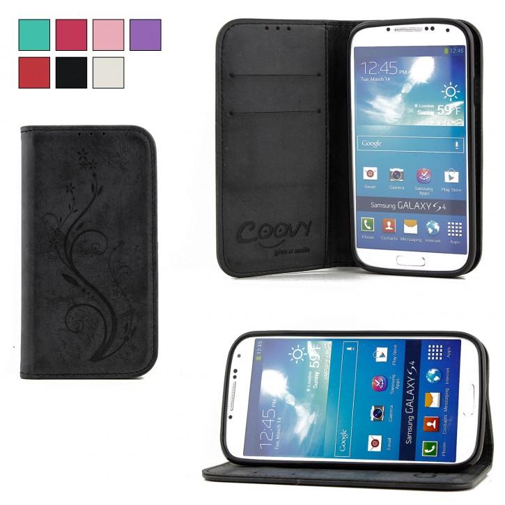 COOVY® Cover für Samsung Galaxy S4 GT-i9500 GT-i9505 GT-i9506 Case Wallet Schutz Etui mit Kartenfach, Standfunktion + Schutzfolie - Design Blume