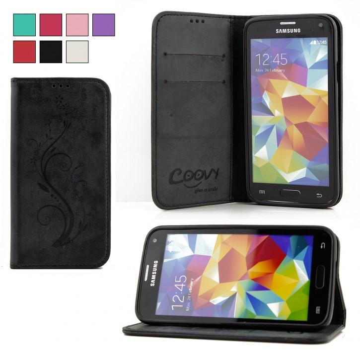 COOVY® Cover für Samsung Galaxy S5 SM-G900F SM-G901F Neo SM-G903F Case Hülle Wallet Schutz Etui mit Kartenfach, Standfunktion + Schutzfolie - Design Blume |
