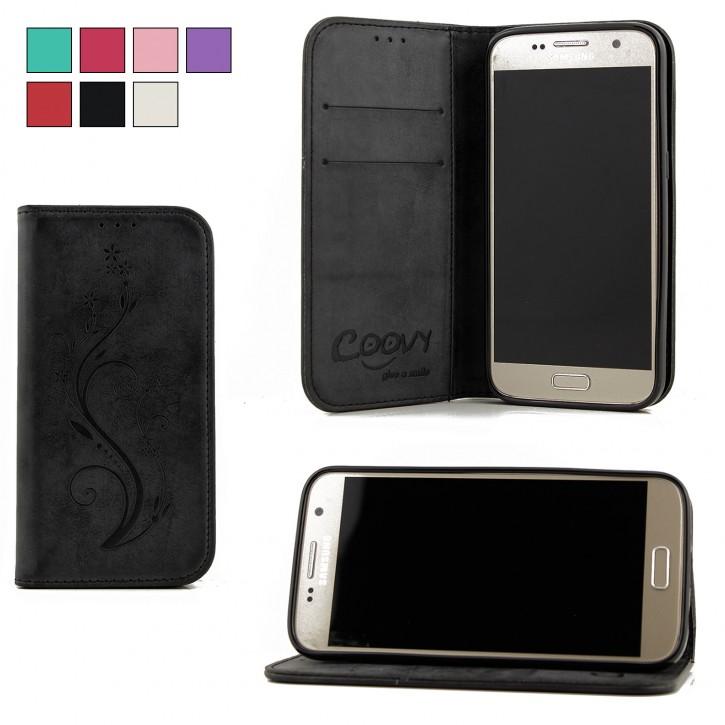 COOVY® Cover für Samsung Galaxy S7 SM-G930F SM-G930 Case Hülle Wallet Schutz Etui mit Kartenfach, Standfunktion + Schutzfolie - Design Blume |