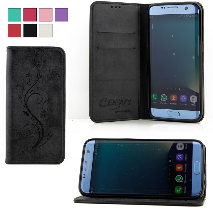 COOVY® Cover für Samsung Galaxy S7 EDGE SM-G935F SM-G935 Case Hülle Wallet Schutz Etui mit Kartenfach, Standfunktion + Schutzfolie - Design Blume  