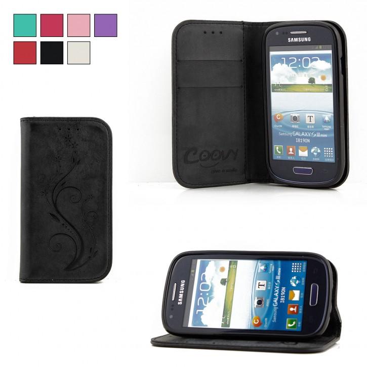 COOVY® Cover für Samsung Galaxy S3 MINI GT-i8200 GT-i8190 GT-i8195 Case Hülle Wallet Schutz Etui mit Kartenfach, Standfunktion + Schutzfolie - Design Blume |