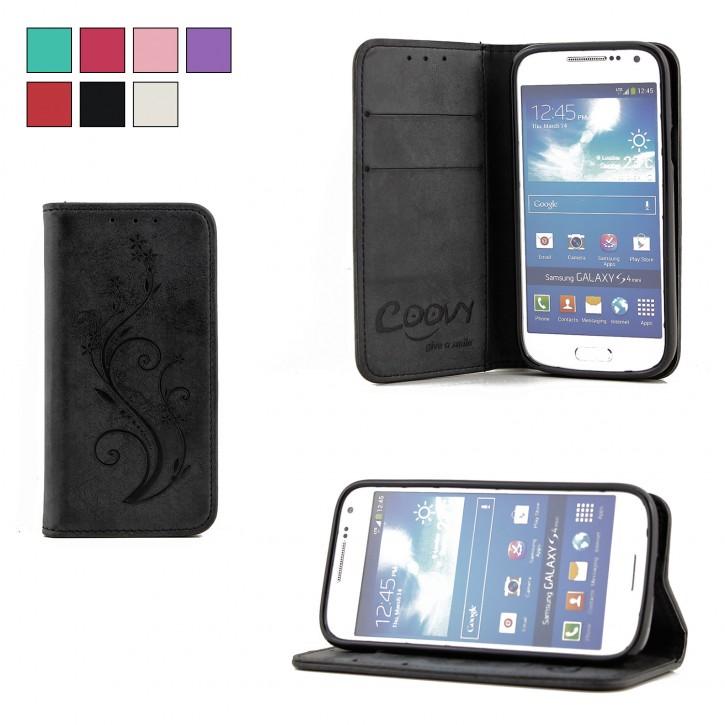 COOVY® Cover für Samsung Galaxy S4 MINI GT-i9190 GT-i9195 GT-i9192 Case Wallet Schutz Etui mit Kartenfach, Standfunktion + Schutzfolie - Design Blume