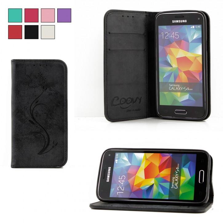 COOVY® Cover für Samsung Galaxy S5 MINI SM-G800 SM-G800H/DS DUOS Case Hülle Wallet Schutz Etui mit Kartenfach, Standfunktion + Schutzfolie - Design Blume |