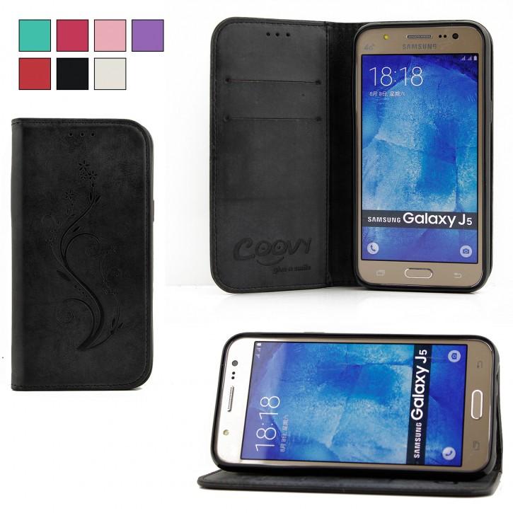 COOVY® Cover für Samsung Galaxy J5 SM-J500 SM-J500F (Model 2015) Case Hülle Wallet Schutz Etui mit Kartenfach, Standfunktion + Schutzfolie - Design Blume  