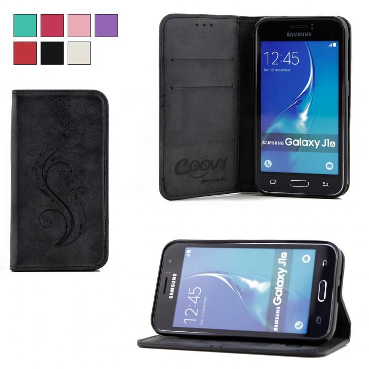COOVY® Cover für Samsung Galaxy J1 SM-J120 / SM-J120F / SM-J120F/DS (Model 2016) Case Wallet Schutz Etui mit Kartenfach, Standfunktion + Schutzfolie - Design Blume