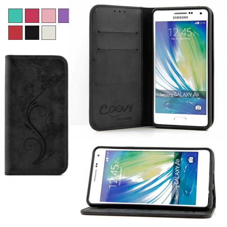 COOVY® Cover für Samsung Galaxy A5 SM-A510 / SM-A510F (Model 2016) Case Hülle Wallet Schutz Etui mit Kartenfach, Standfunktion + Schutzfolie - Design Blume |