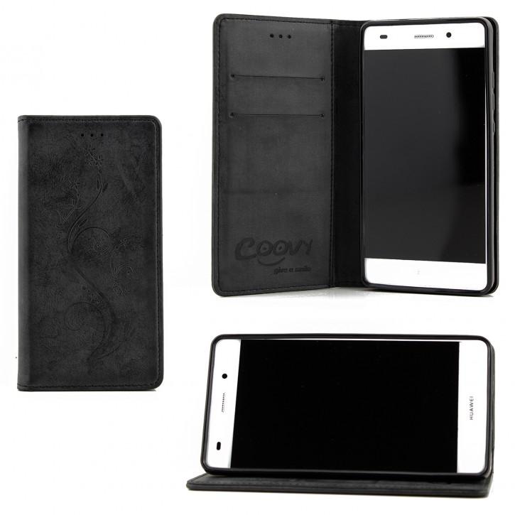 COOVY® Cover für Huawei P8 lite (Model 2015) Case Hülle Wallet Schutz Etui mit Kartenfach, Standfunktion + Schutzfolie - Design Blume |