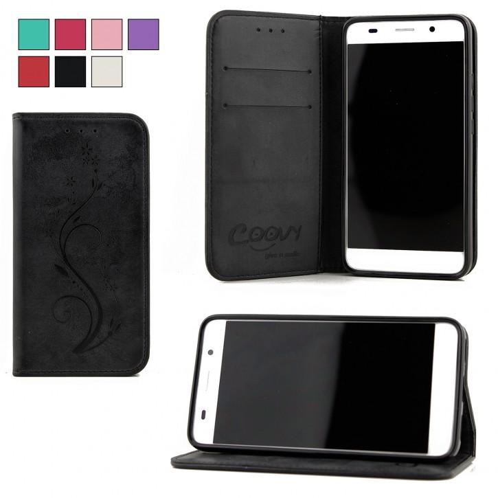 COOVY® Cover für Huawei Y6 (Model 2015) Case Wallet Schutz Etui mit Kartenfach, Standfunktion + Schutzfolie - Design Blume