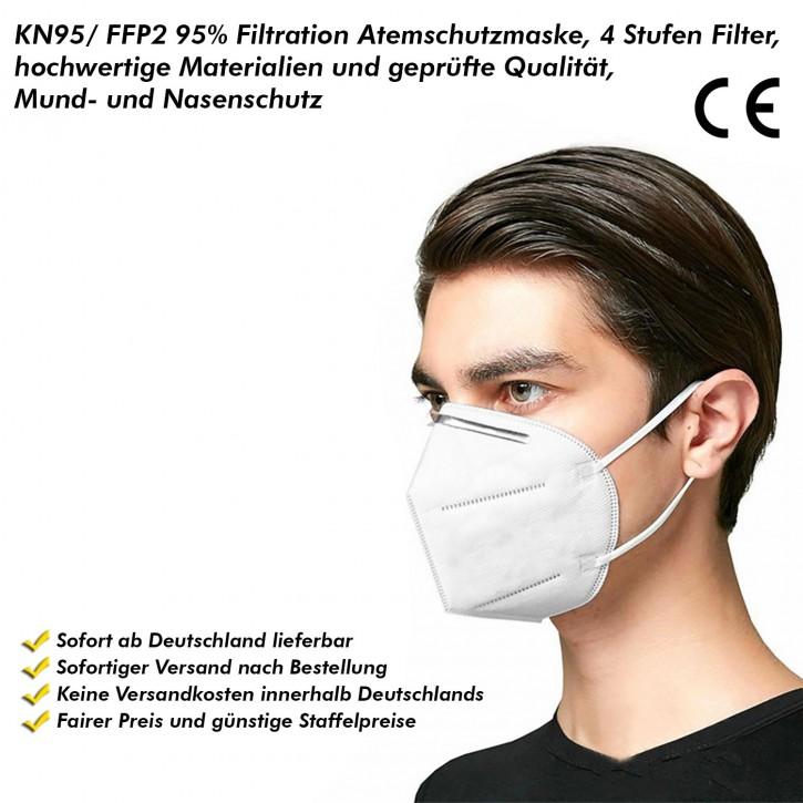 KN95/FFP2 95% Filtration Atemschutzmaske, 4 Stufen Filter, hochwertige Materialien und geprüfte Qualität, Mund- und Nasenschutz