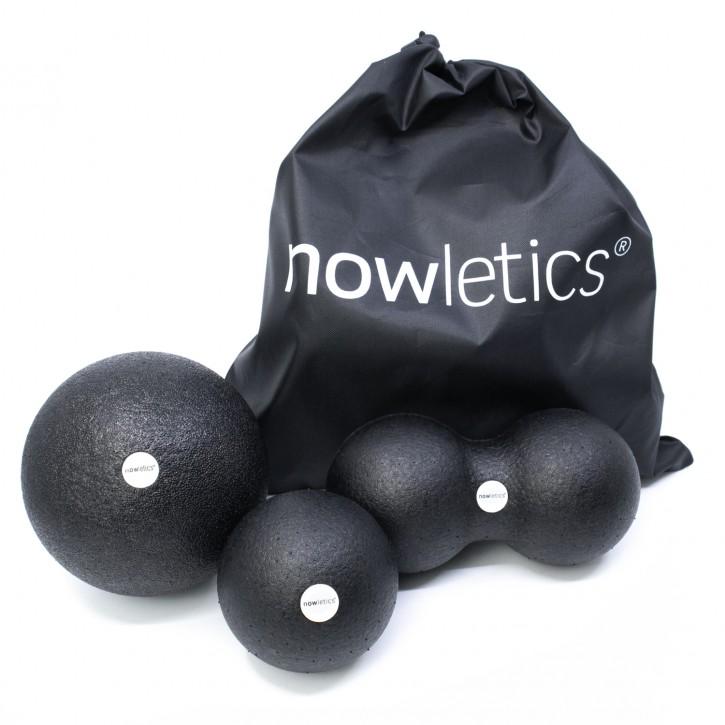 nowletics® Faszien Ball Set inkl. Beutel, 2x Faszienball und 1x Duoball zur Massage von Rücken, Nacken und anderen Muskeln