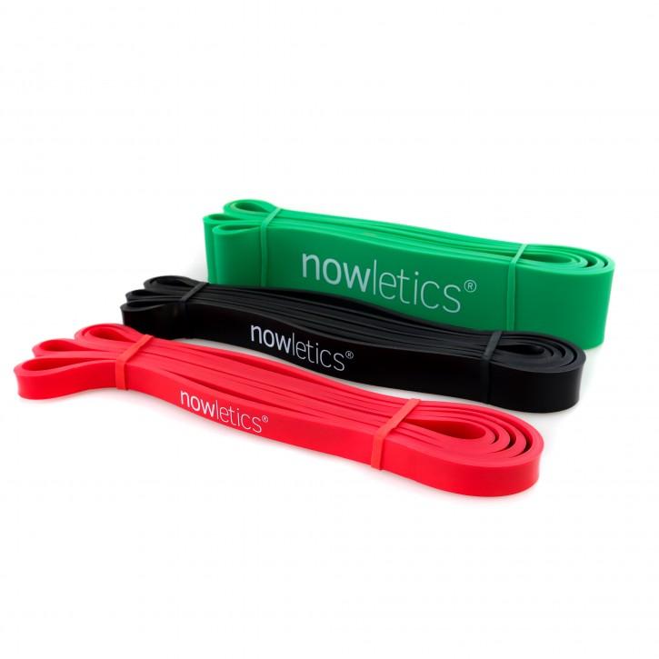 nowletics® Fitnessband/Widerstandsband Set mit 3 Bändern zur Unterstützung bei Klimmzügen und als Trainingswiderstand   Premium Resistance Bands