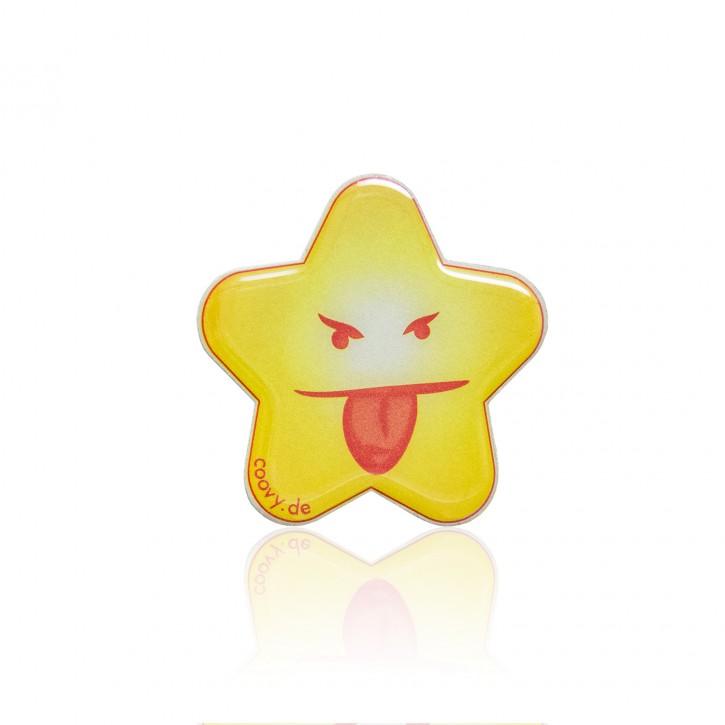 """COOVY® LEUCHT-STERN """"CHEEKY"""" Metall Aufkleber für Premium Universal Magnet Holder, auch zum überall aufkleben, mit """"GLOW IN THE DARK"""" Effekt, leuchtet im Dunkeln, zaubert ein Lächeln ins Gesicht"""