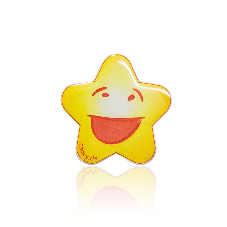 """COOVY® LEUCHT-STERN """"FUNNY"""" Metall Aufkleber für Premium Universal Magnet Holder, auch zum überall aufkleben, mit """"GLOW IN THE DARK"""" Effekt, leuchtet im Dunkeln, zaubert ein Lächeln ins Gesicht"""