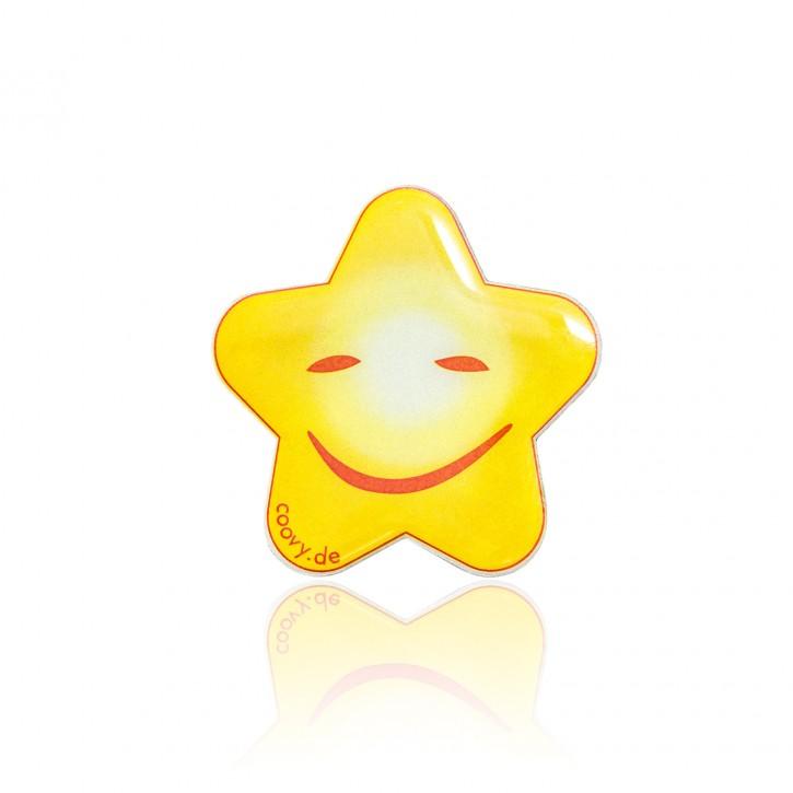 COOVY® Leucht-Stern Happy Metall Aufkleber für Premium Universal Magnet Holder, auch zum überall aufkleben, mit Glow in the Dark Effekt, leuchtet im Dunkeln, zaubert ein Lächeln ins Gesicht