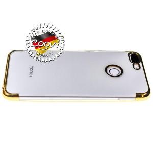 COOVY® Cover für Huawei Honor 9 Lite leichtes, ultradünnes TPU Silikon Bumper Case, transparent, Chrom Rahmen | Farbe gold